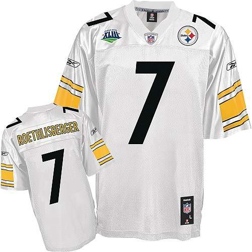 cf13369b8f7 ... NFL Game Ben Roethlisberger Jersey, Reebok Super Bowl XLIII 7  Pittsburgh Steelers Authentic Jersey in White ...