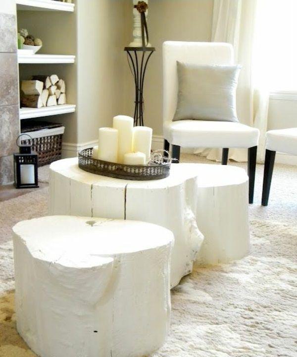 massivholz Couchtische aus Baumstamm weiß schein Wohnen - couchtisch weiss design ideen