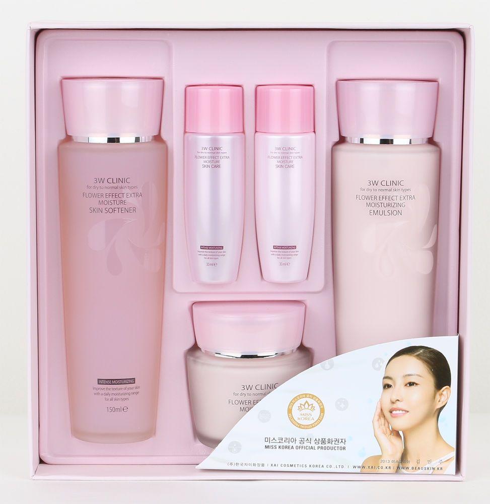 3w Clinic Flower Effect Extra Moisturizing Set Improve Skin Texture Koean Beauty Improve Skin Texture Pure Skin Care Organic Skin Care
