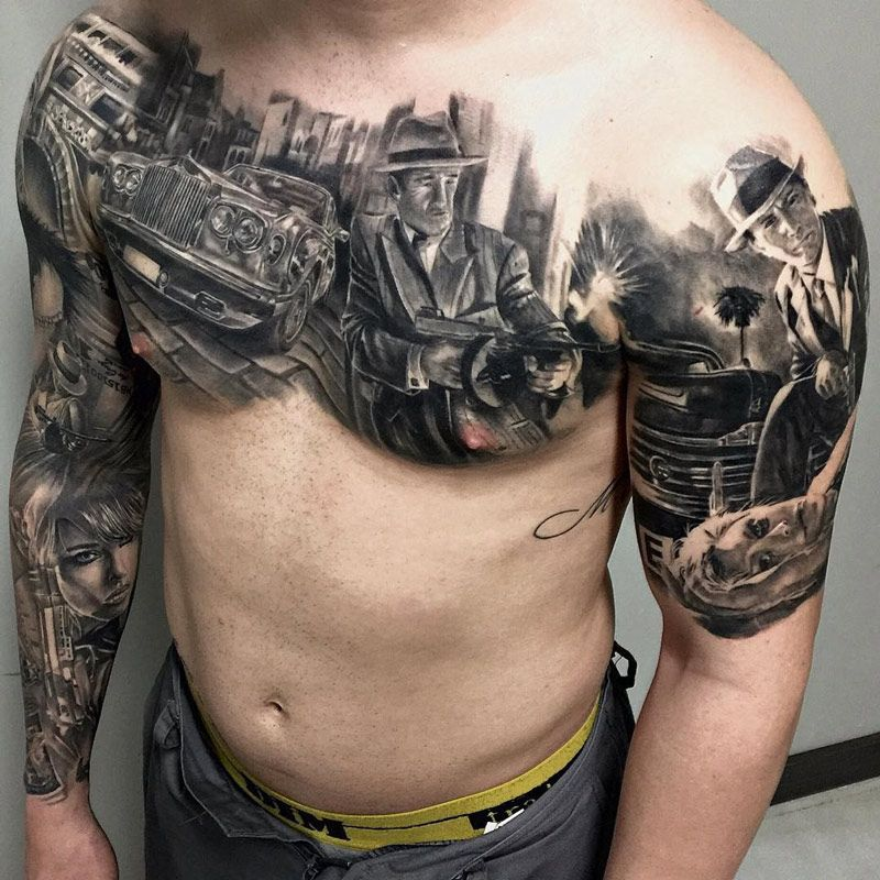 Gangster City Scene On Guys Chest | Best tattoo ideas & designs ...