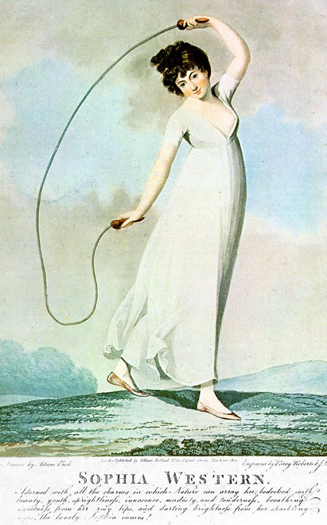Sophia Western with a skipping rope - March 20 1800. Engraved by J.C. Stadler and Piercy Roberts after a drawing by Adam Buck. Wikimedia.