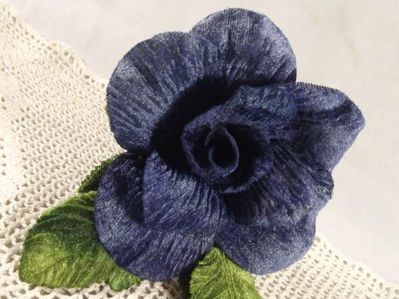 Velvet Blue Rose 3 inch Green Velvet Leaves Millinery Flower