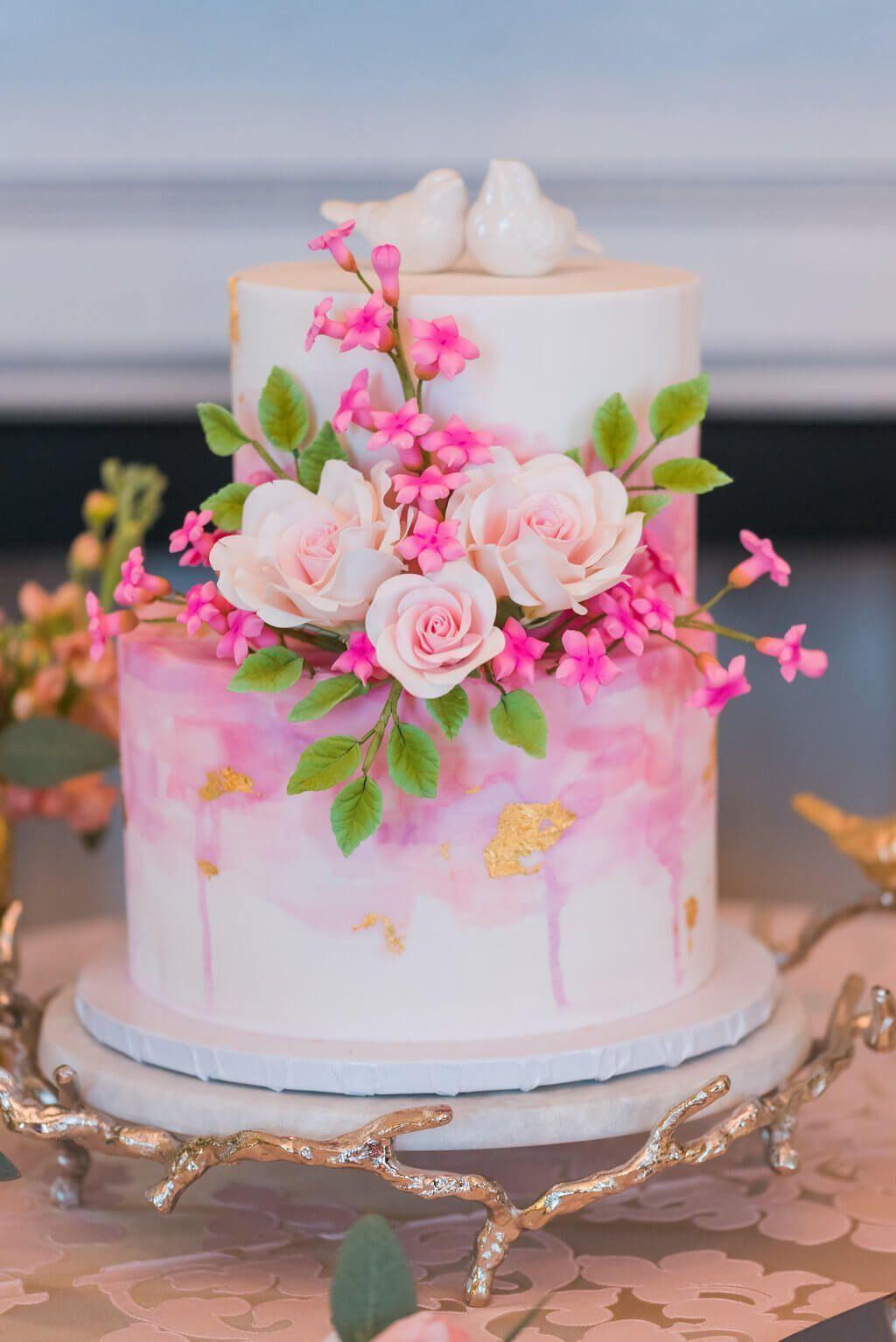 Perfectly Pink Wedding Cake With Love Birds Weddingcakes Wedding