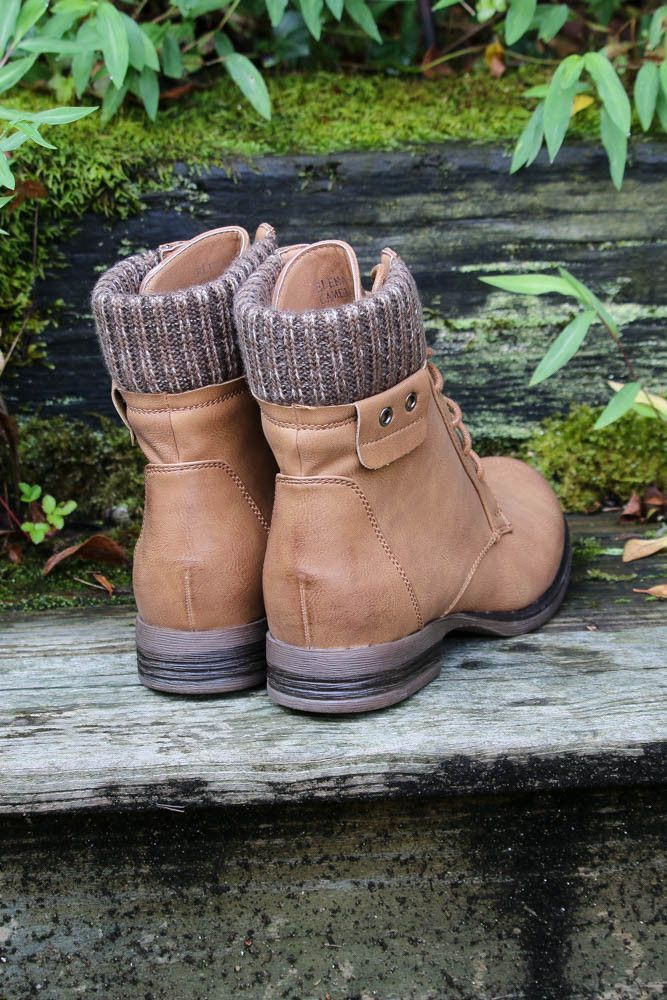 Shady Groves Camel Lace Up Combat Ankle Boots With Sweater Detail