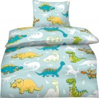 Kinderbettwäsche 135x200 Biber Jungen Dinosaurier Dino