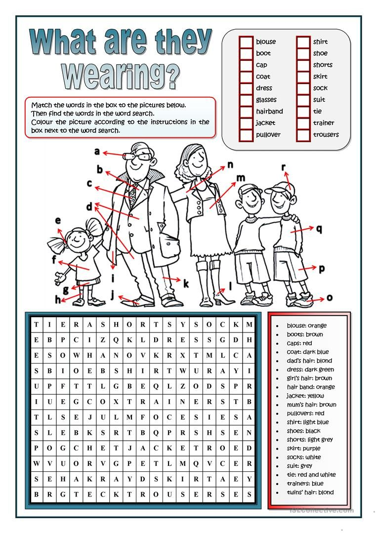 clothes word search worksheet free esl printable worksheets made by teachers englisch. Black Bedroom Furniture Sets. Home Design Ideas