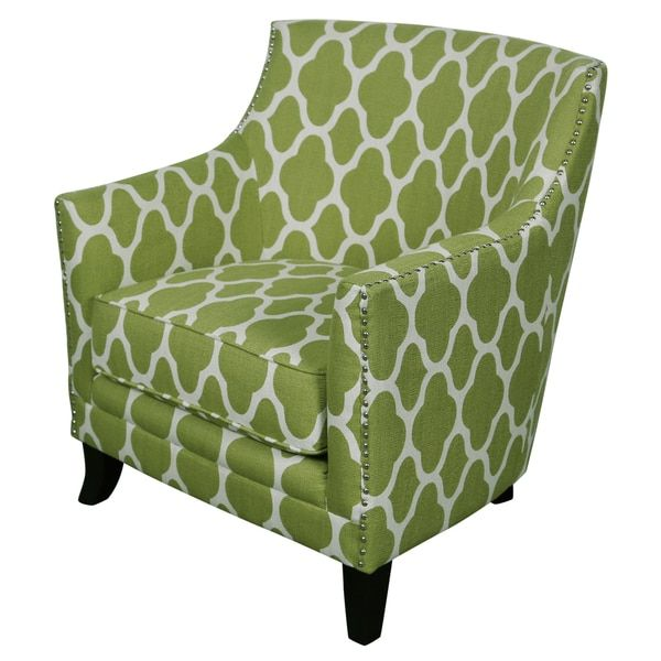 Porter Cie Le Green And White Arabesque Accent Chair With Nailhead Trim