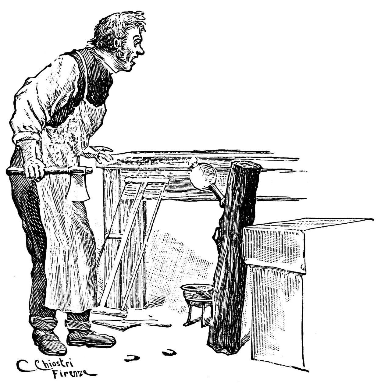 Mastro Ciliegia Osserva Stupito Il Tronco Pinocchio Illustrazioni Burattini