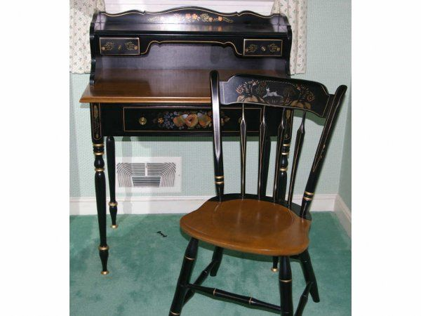 Ethan Allen Vintage Hitchcock Desk And Chair For The