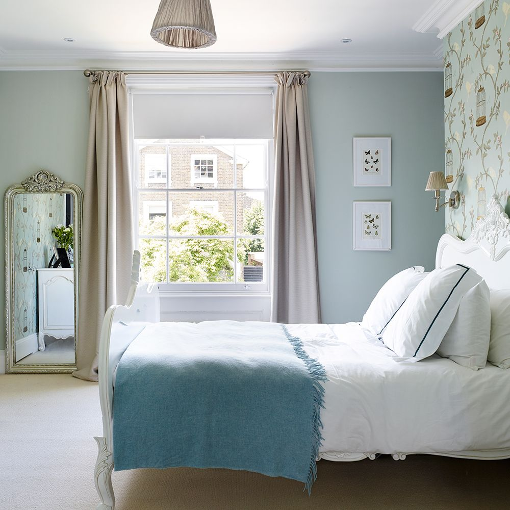 traditional blue bedroom designs. Look Around This Replanned Victorian Home. Birdcage WallpaperGirls BedroomBlue Traditional Blue Bedroom Designs V