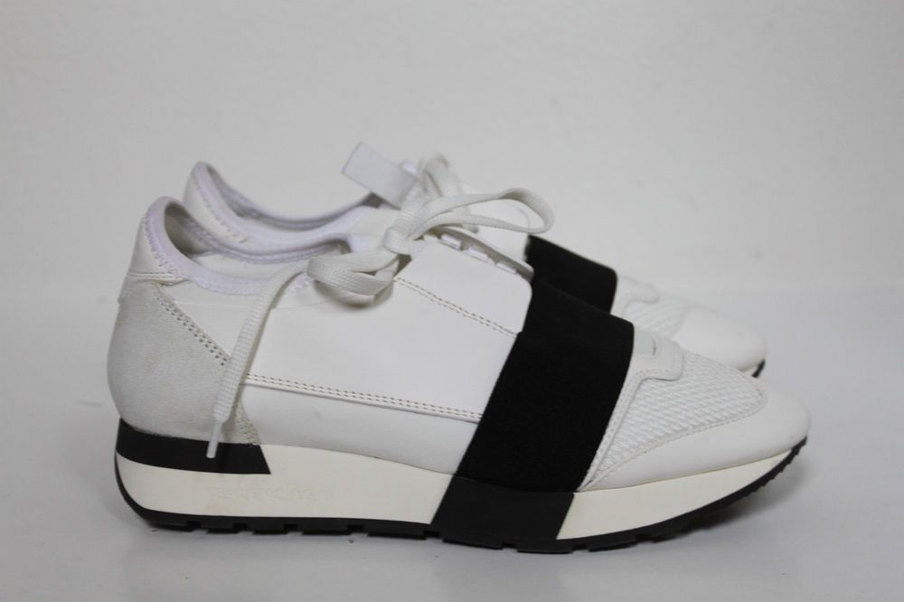 info for 50b1d 0909c eBay  Sponsored sz 6.5   37 Balenciaga White Leather Mixed Media Trainer  Lace up Sneaker