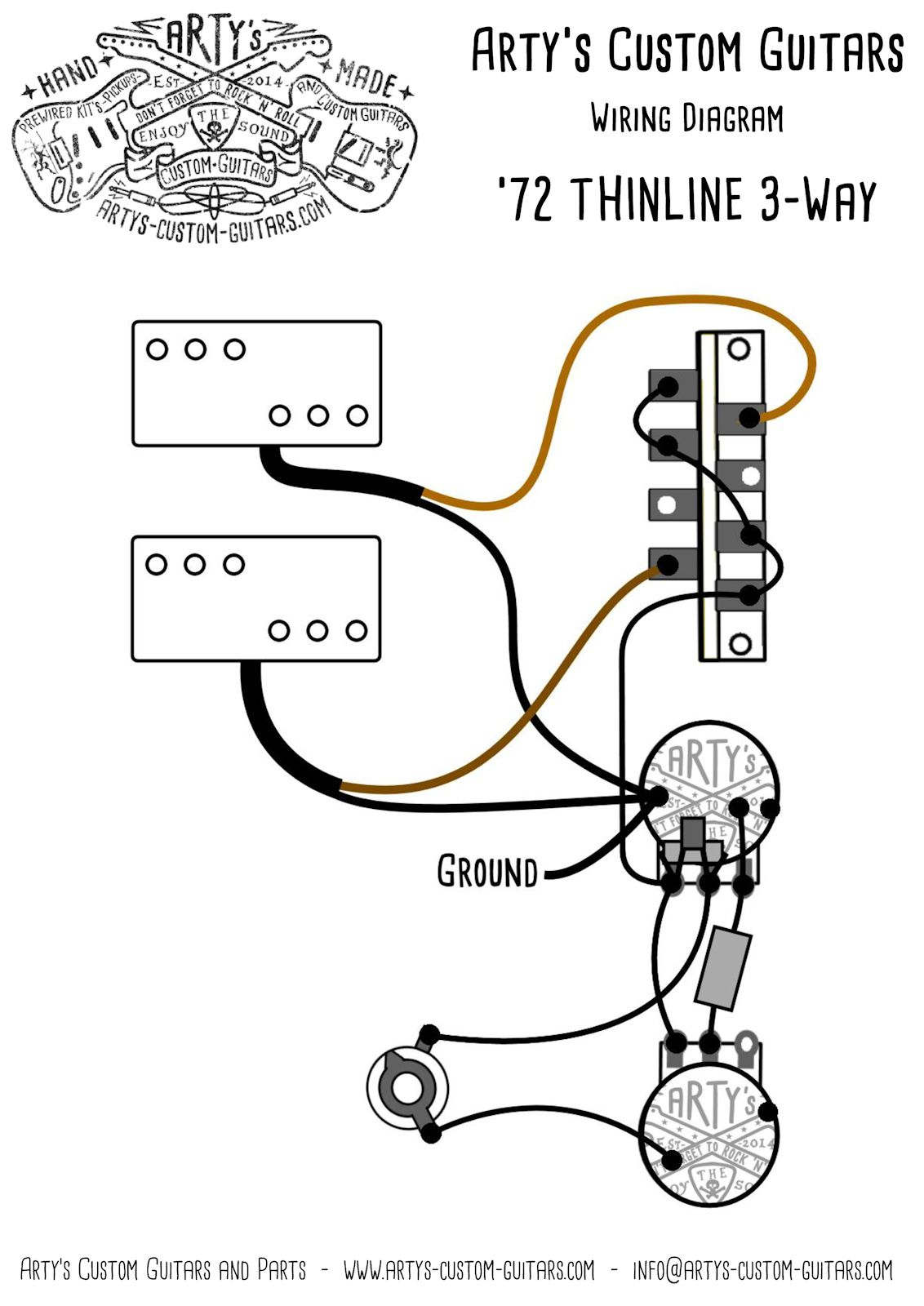 Th Te 3 Way Thinline 72 Vintage Prewired Kit Wiring Harness Tele Artys Custom Guitars Telecaster Standard Pre Wired Control Plate