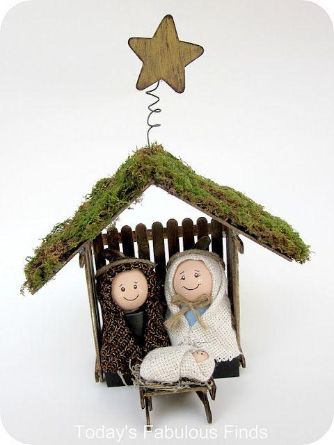 Craft Stick and Clay Pot Children's Nativity Set   [tutorial]