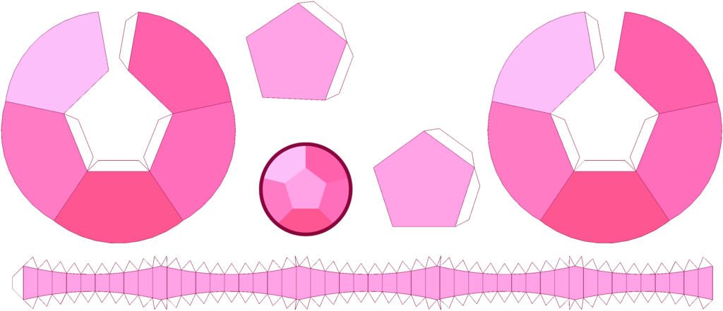 this is a template to bulit a rose quartz papercraft gem from steven
