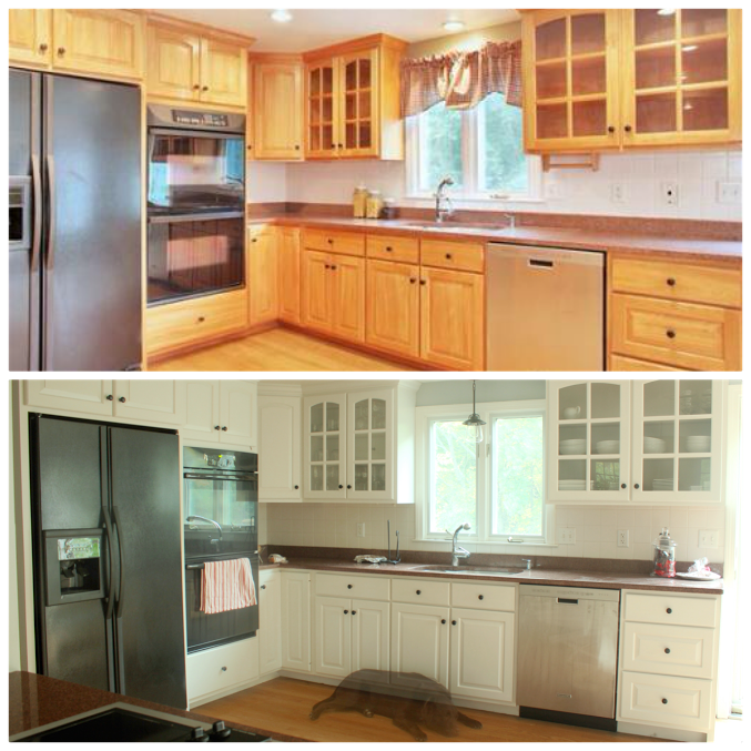 before and after DIY kitchen cabinet makeover. What a transformation!   I love the white cabinets.
