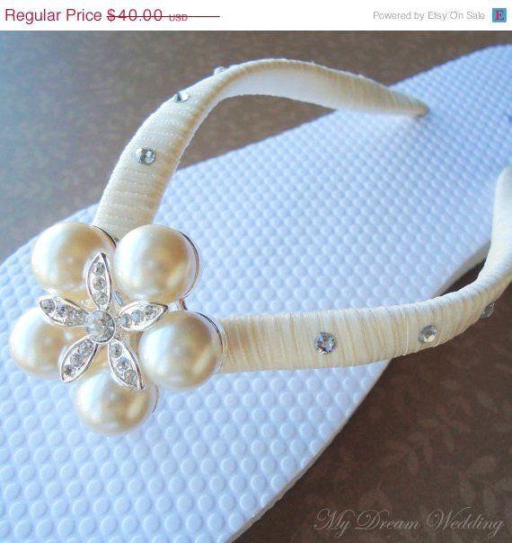 ON SALE Ivory Flip Flops. Bridal Flip Flops with SWAROVSKI Crystals.Bridesmaids, Wedding - Charlotte - - LoveItSoMuch.com