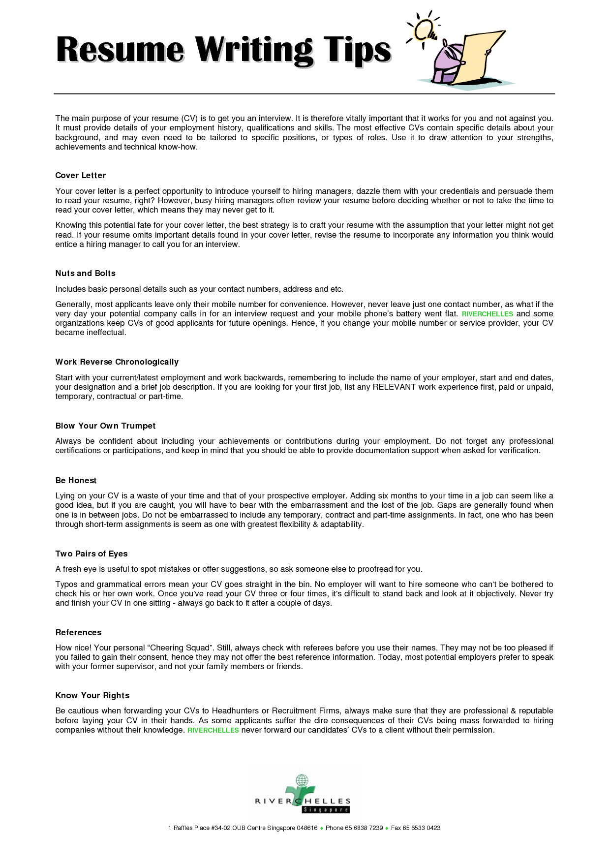 Resume Writing Tips  ResumeCareer    Resume Writing