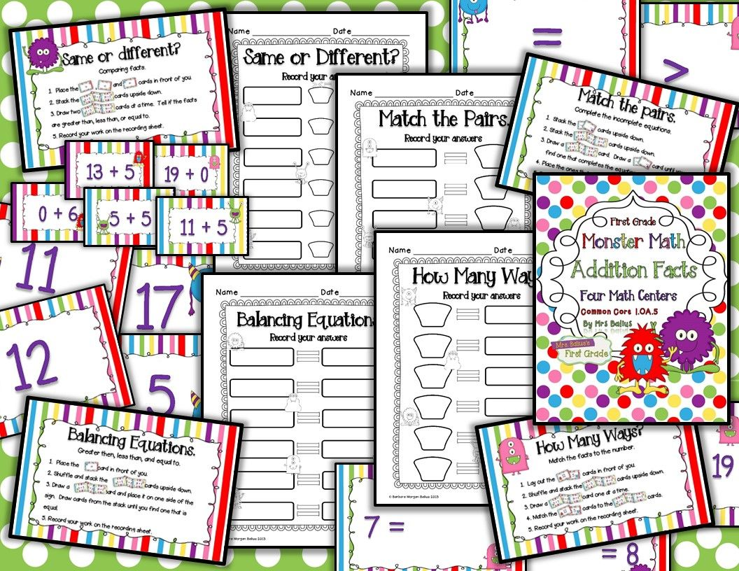 Four Addition Math Centers Monster Math Common Core Aligned Ccss 1 Oa 5