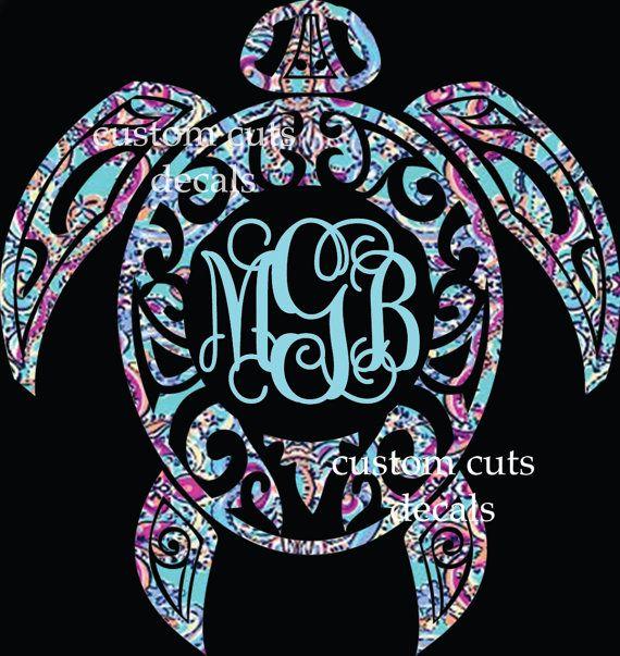 turtle monogrammed vinyl decal