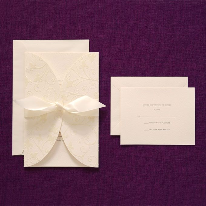 Brides Wedding Collection Ivory Flocked Swirl Invitation By Available At Michaels S Nationwide