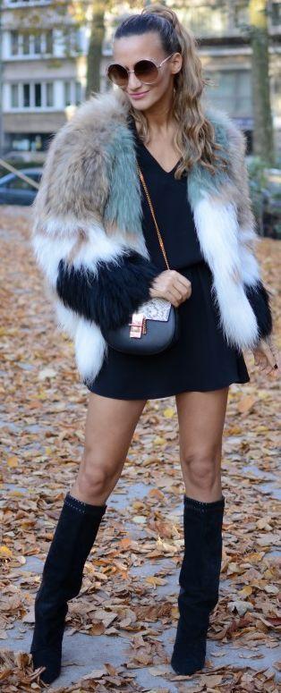 Lima's Wardrobe Multi Faux Fur Jacket Fall Street Style Inspo