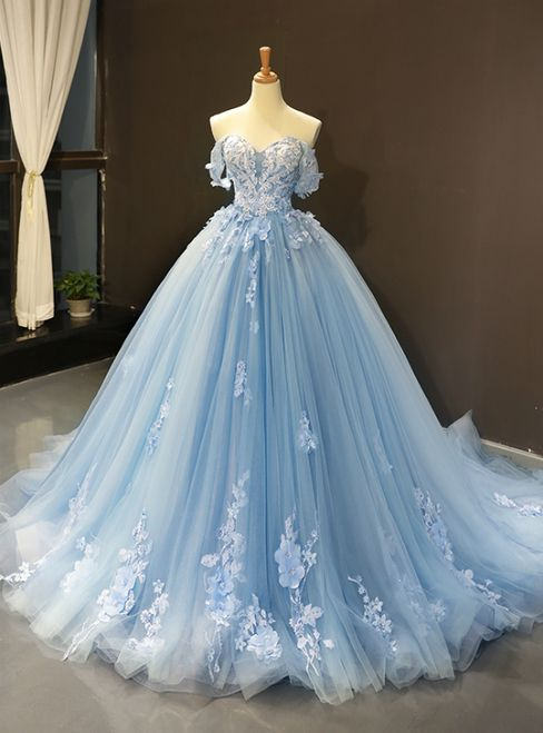 Photo of Blue Ball Gown Tüll Appliques Off The Shoulder Rückenfrei Sweet 16 Prom Kleider # d …