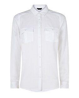 White Double Pocket Long Sleeve Shirt | New Look