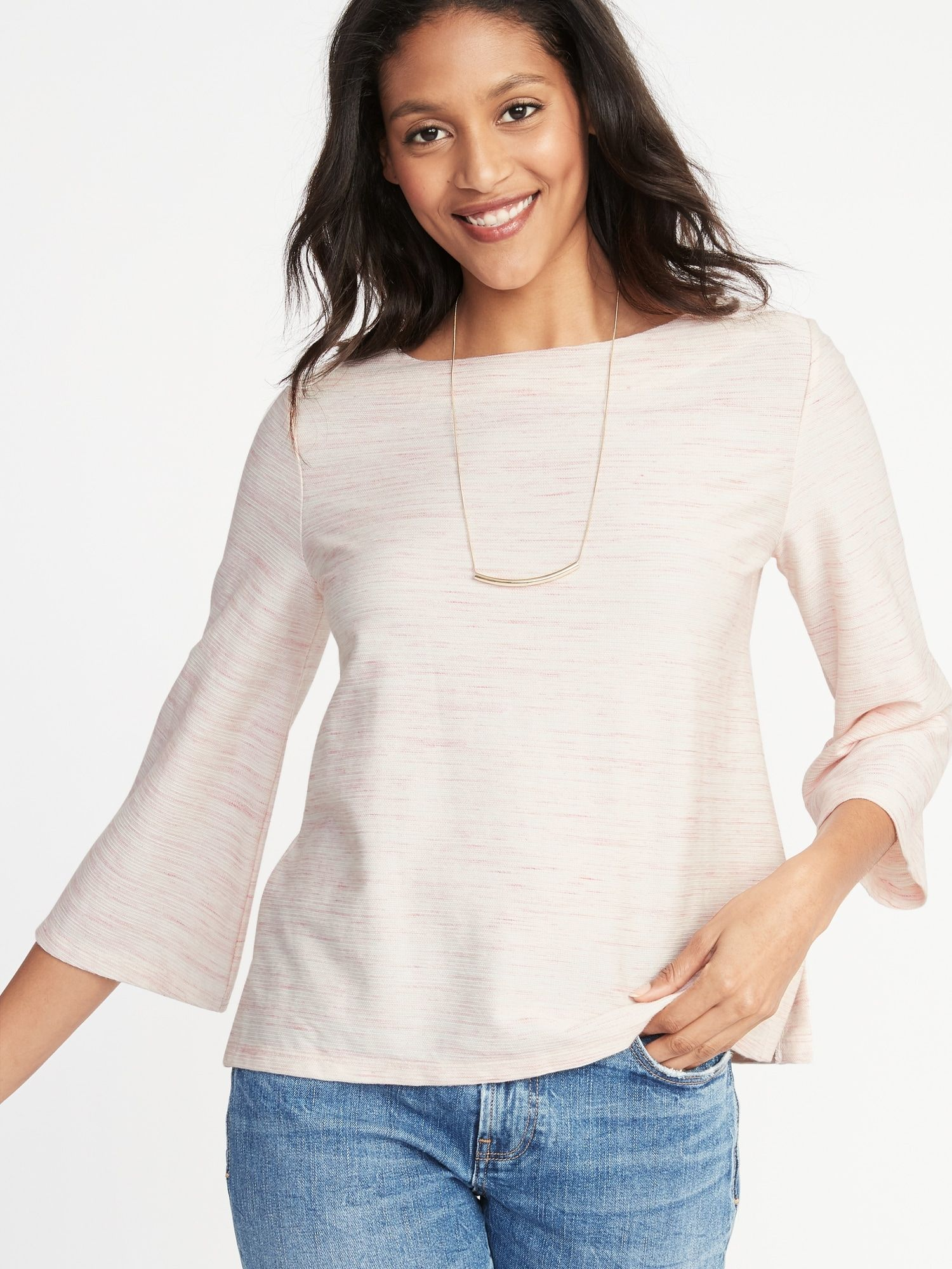 9903b22e7c84 Textured Boat-Neck Top for Women