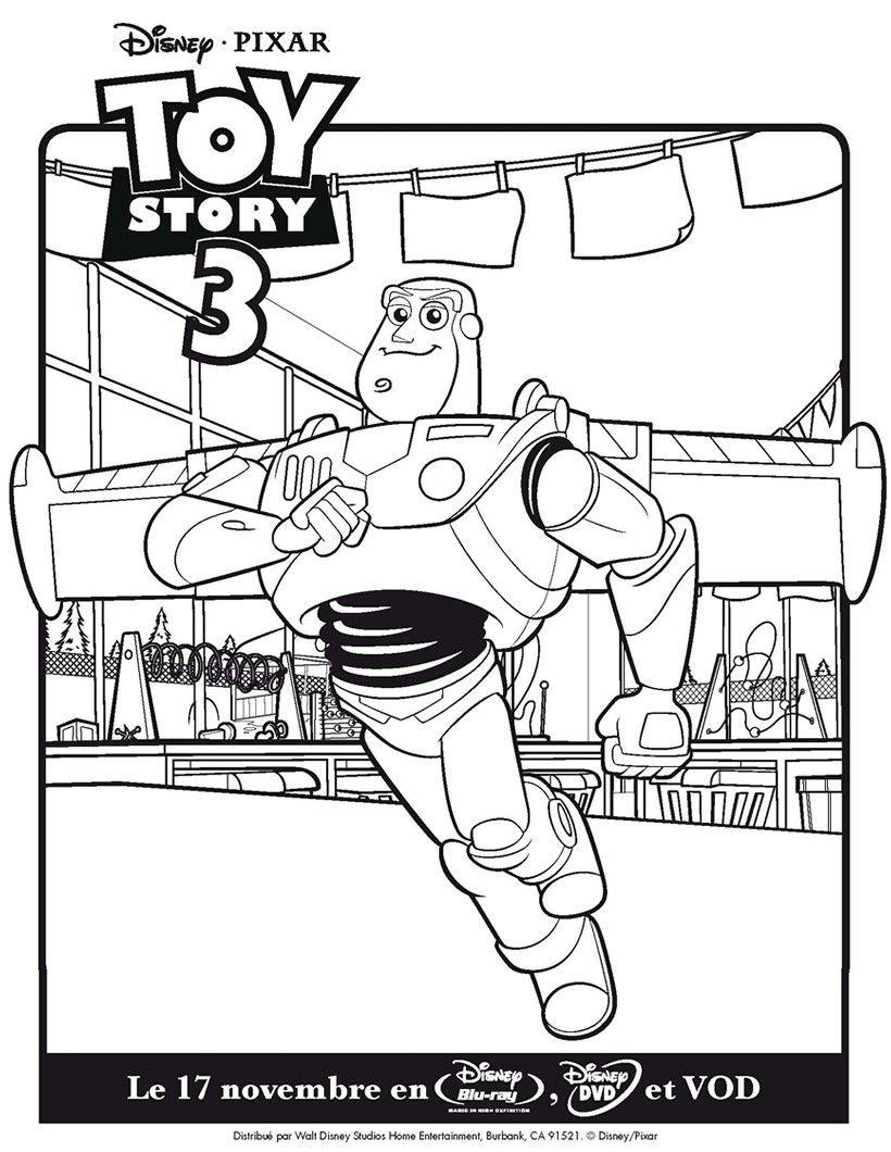 Un joli coloriage de Toy Story 3 avec Buzz. Un dessin parfait qui p ...