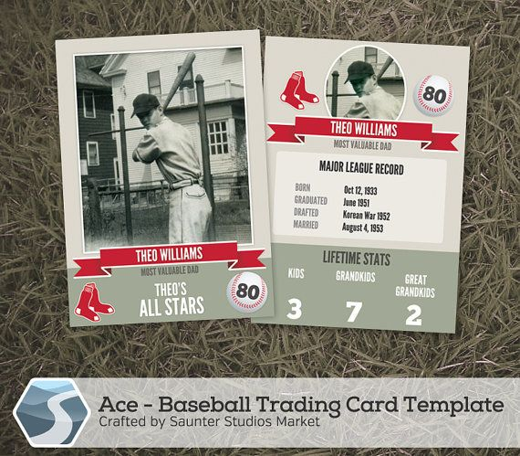 Ace Baseball Trading Card 2 5 X 3 5 Photoshop Etsy In 2021 Trading Card Template Baseball Trading Cards Baseball Card Template
