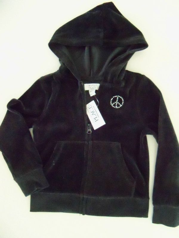 THE CHILDRENS PLACE Hooded Zipper Velvet Jacket Girls 4 X-Small NWT Retail$24.95