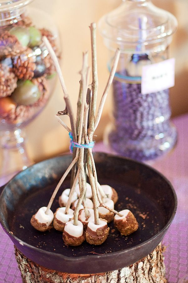 Camp Smores - Marshmallow Pops with Wooden Sticks - Camping theme party!