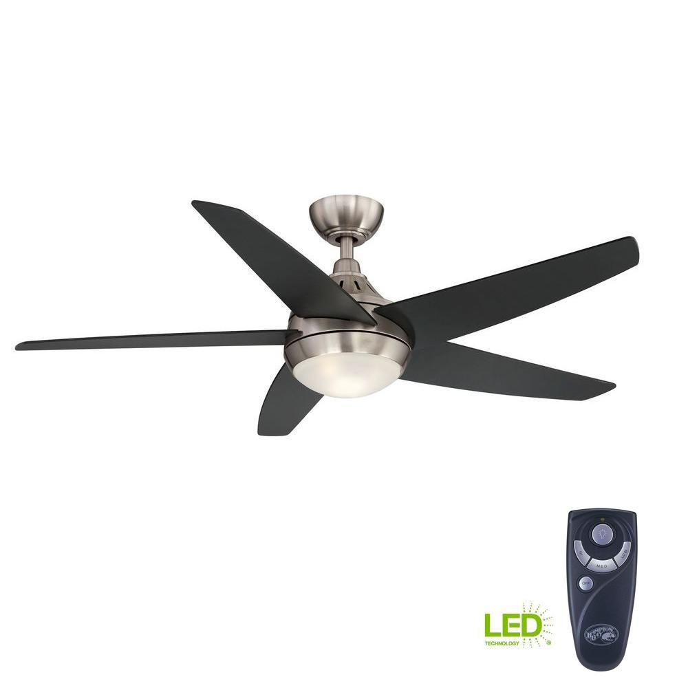 Hampton Bay Etris 52 In Led Indoor Brushed Nickel Ceiling Fan With Light Kit And Remote Control Yg327b Bn Ceiling Fan Brushed Nickel Ceiling Fan Modern Fan