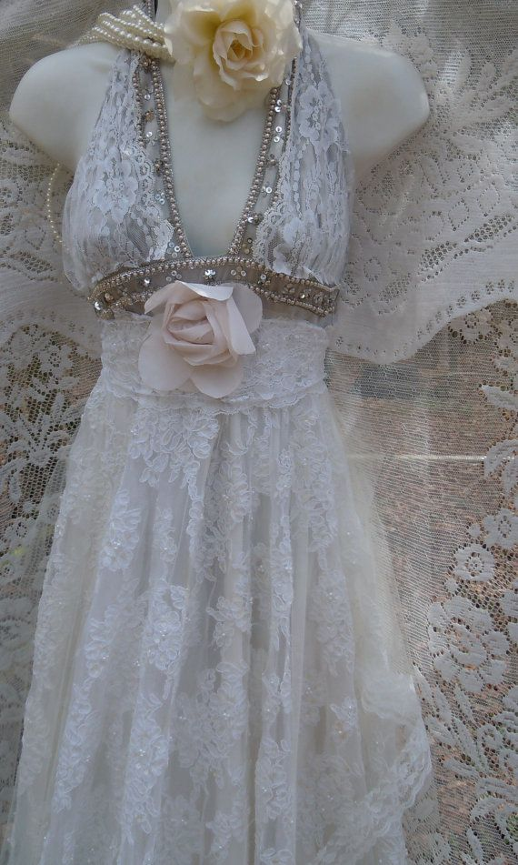 Boho Wedding Dress handmade by vintage opulence on Etsy