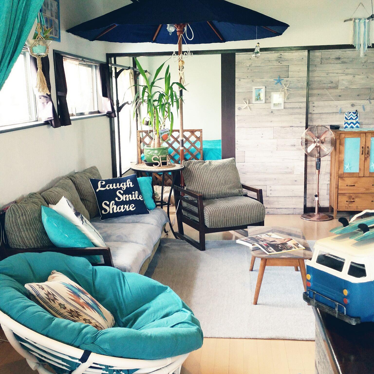 まるでビーチサイド?!海を感じるインテリアで南国リゾート気分 室内装飾 家の装飾のアイデアのリビン