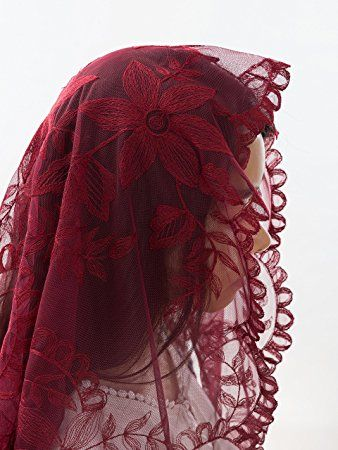 Burgundy Catholic Veils and Mantillas– Stunning Lace Mantillas, Catholic Chapel Veils and Head Coverings for Mass