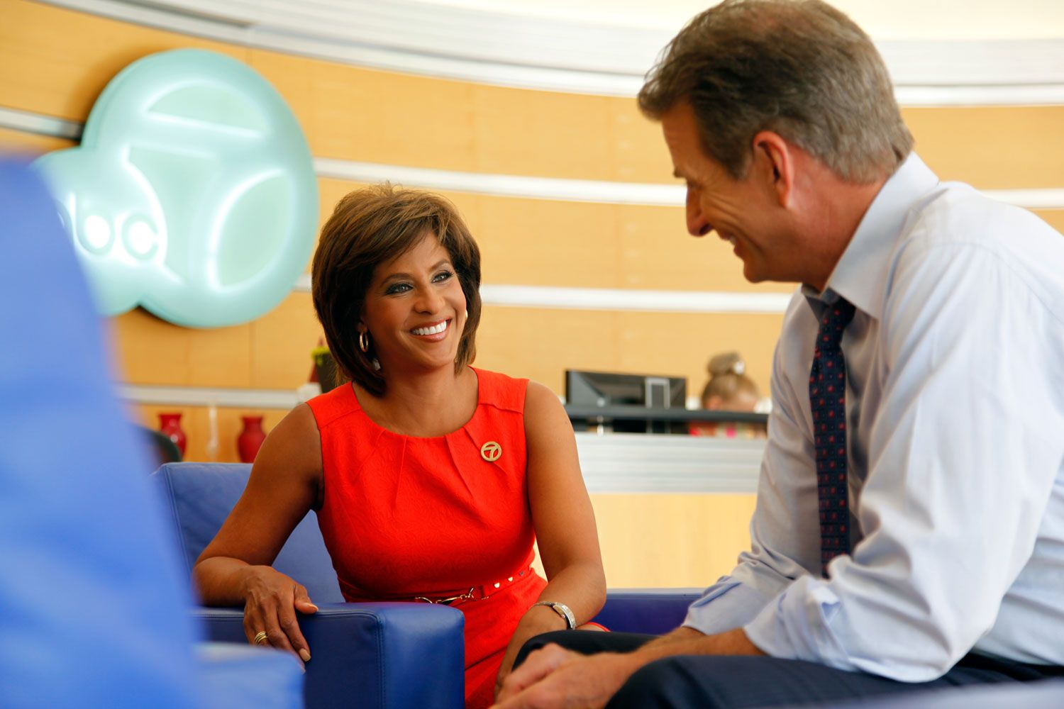 Anchor team Leslie Sykes and Phillip Palmer share a laugh