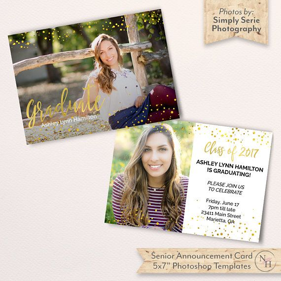 Senior Announcement Card Template Graduation Card Template