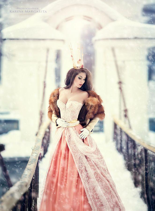 Beautiful princess in a winter wonderland. Modern Fairytale.