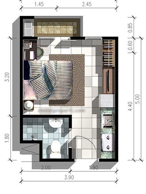 Casas de una recamara planos de casas sencillas plano de for Planos de departamentos de una habitacion