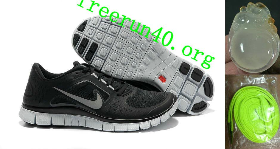 Shop Womens Nike Free Run 3 Black Wolf Grey Reflect Silver Shoes New 2013  Sneakers
