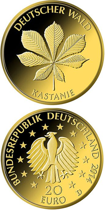 20 euro: Kastanie.Country:Germany Mintage year: 2014 Face value: 20 euro Diameter: 17.50 mm Weight: 3.89 g Alloy: Gold Quality: Proof