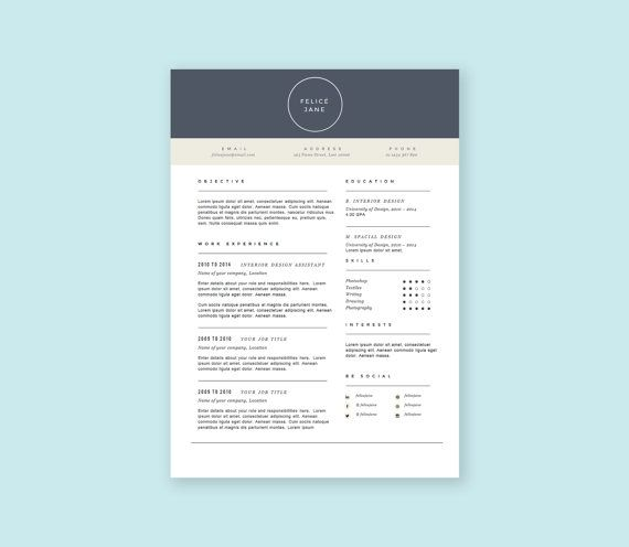 Professional And Conservative Resume Template Including A Cover