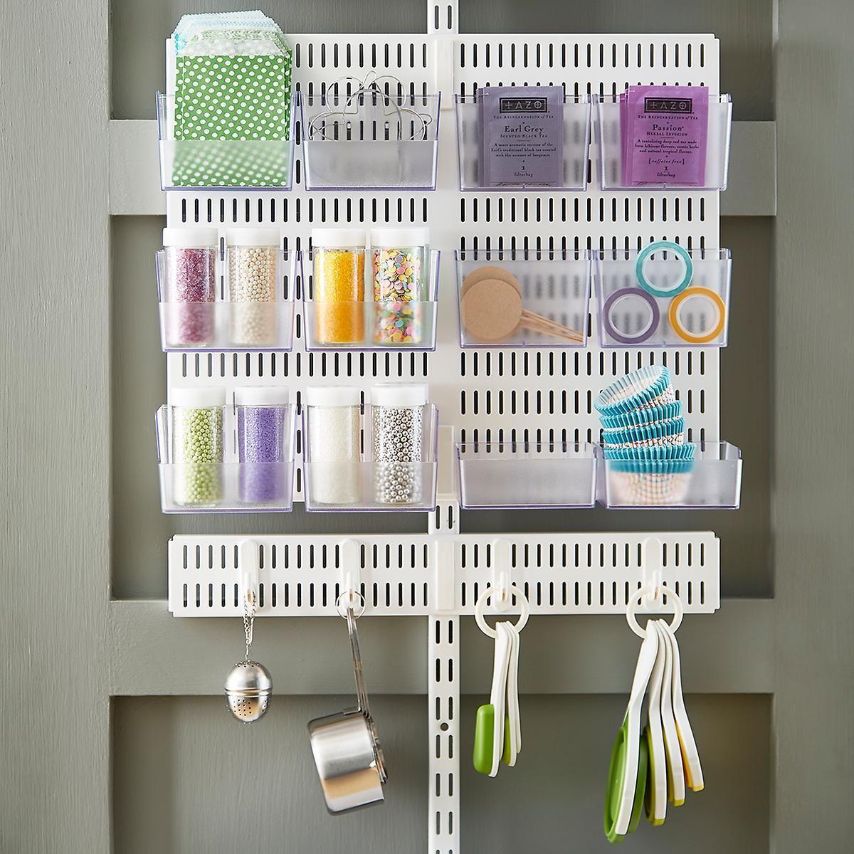 Pantry Door Storage Solutions: Elfa Utility White Mesh Pantry Door & Wall Rack