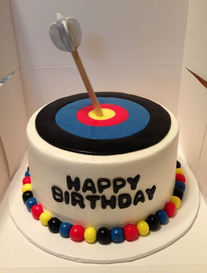 Astounding Frosted Cake With Fondant Archery Target Arrow Made Of Dowel With Funny Birthday Cards Online Alyptdamsfinfo