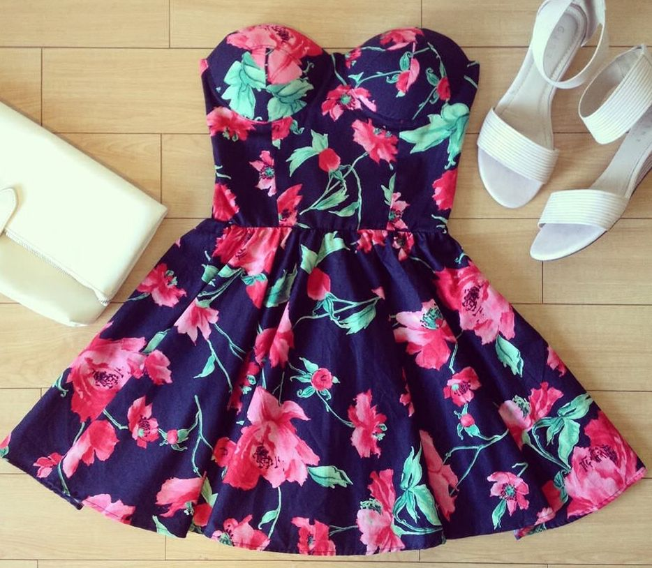 Vintage Flirty Floral Bustier Dress | eBay | Searches, Dresses ...