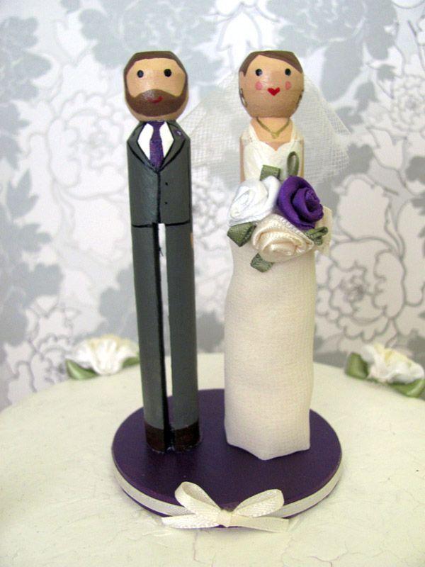 Custom Clothespin Wedding Cake Topper