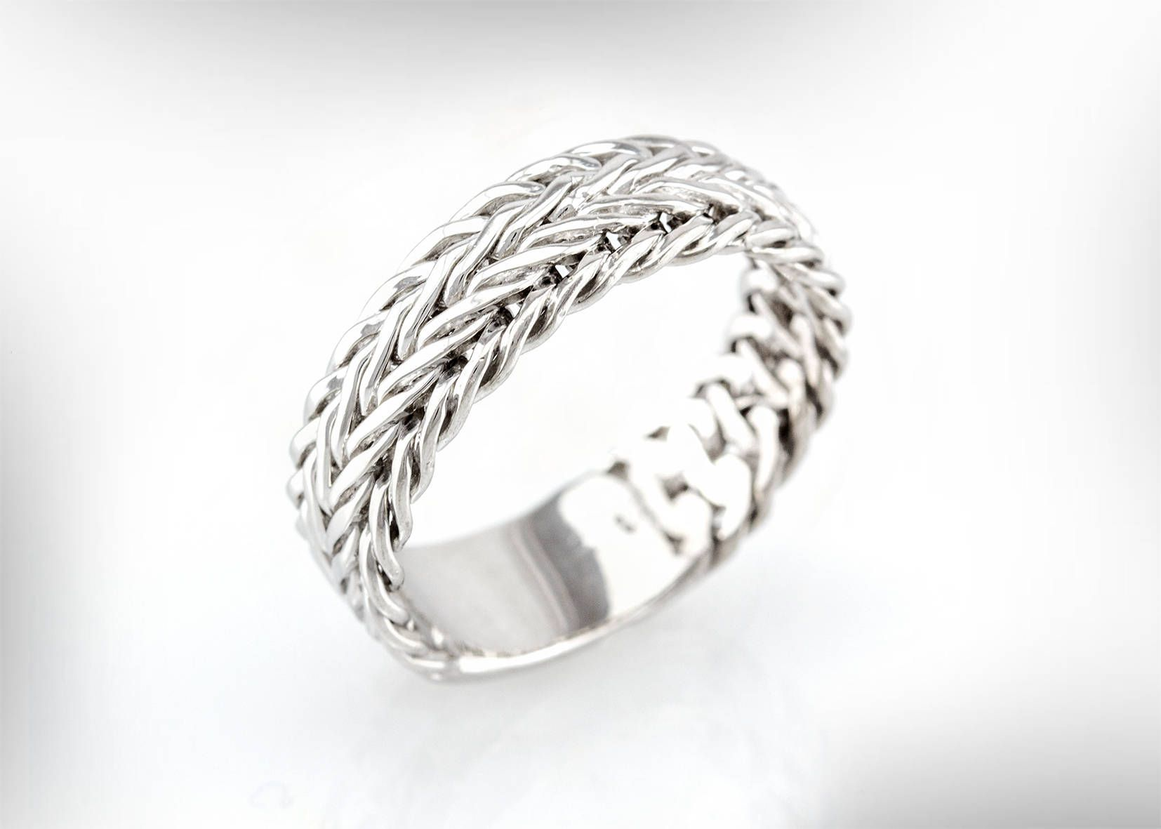 Silver Ring for Men Men s Wedding Band Braided Ring for Him