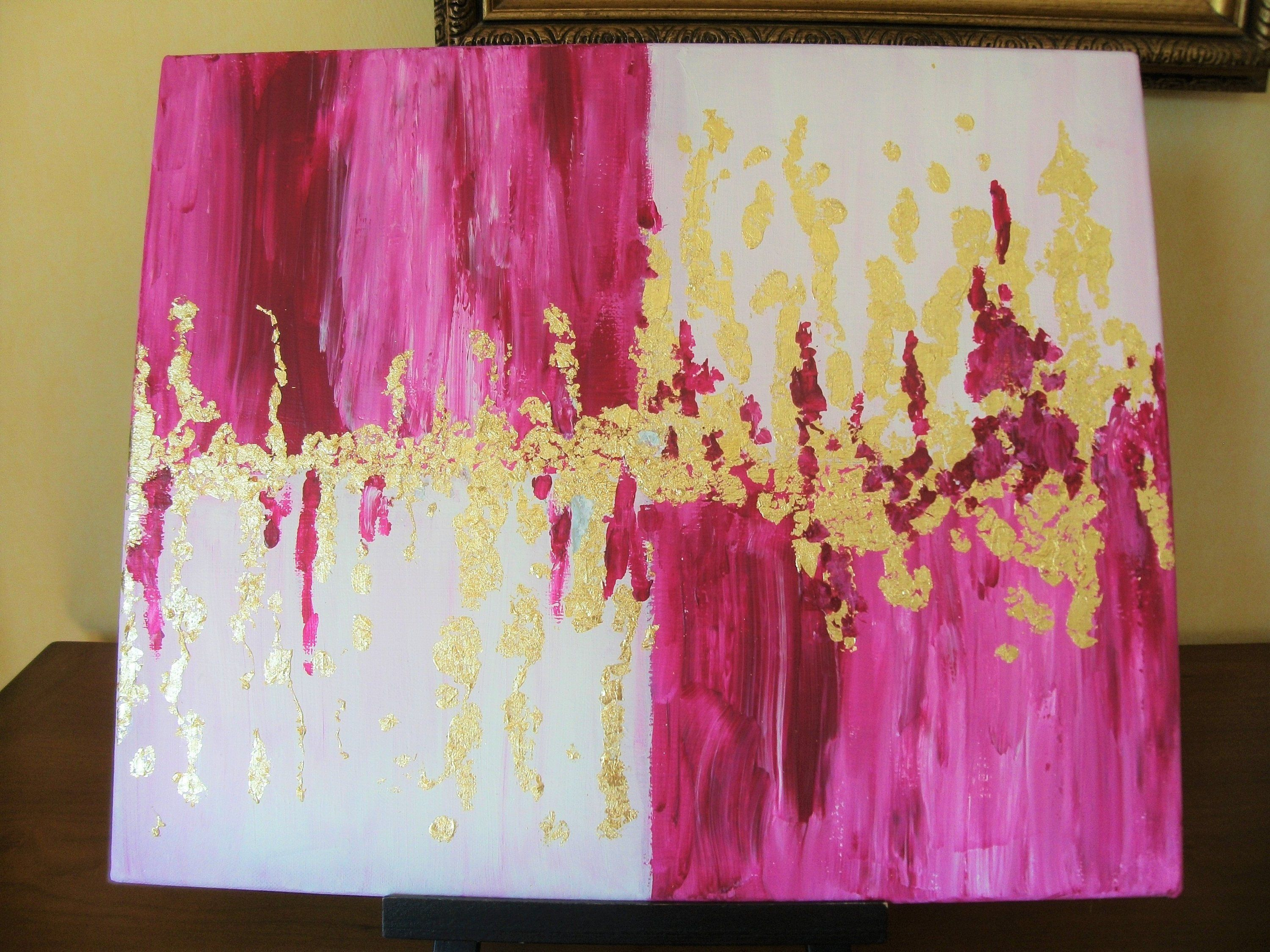 Pink And Gold Abstract Painting Gold Leaf Paint Contemporary Paint