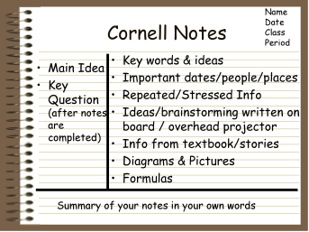 Cornell Notes IVe Used A Similar Template For Cornell Notes With